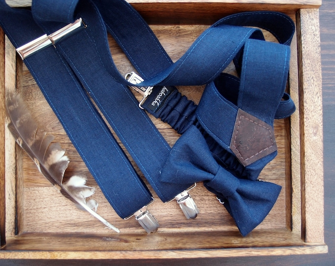 Navy blue linen bow tie and suspenders, linen suspenders set for a rustic wedding, groomsmen gift