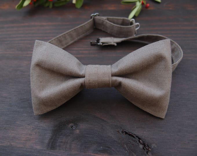Natural Linen bow tie, men's bow tie, wedding pre tied bow tie, men outfit accessories,  gift ideas for boyfriend,