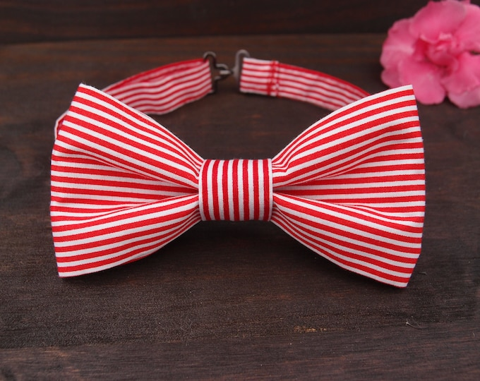 Red White Bow tie, Striped Bow tie, Unisex Bowtie, Cotton Adjustable Bow tie, Ladies Bow tie, Mens bow tie