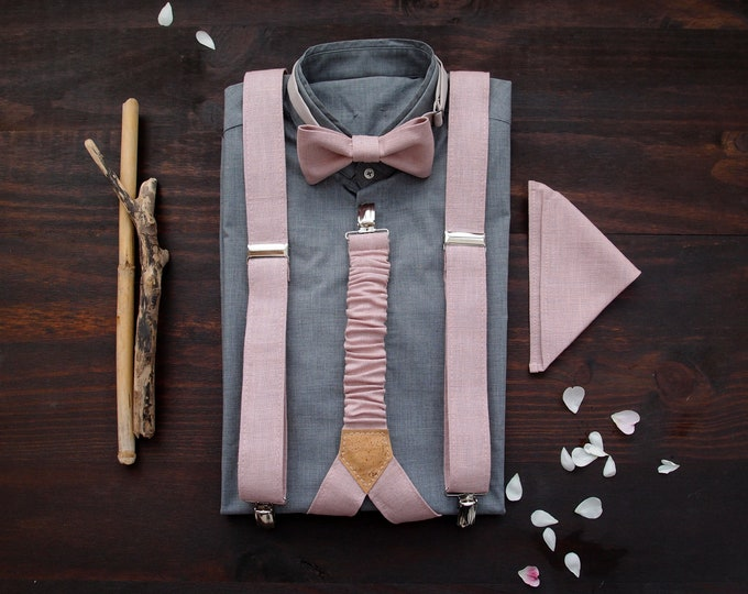 Dirty Pink Linen suspenders set with matching pocket square, rustic groomsmen gift, formal bow tie and pocket square with braces combo