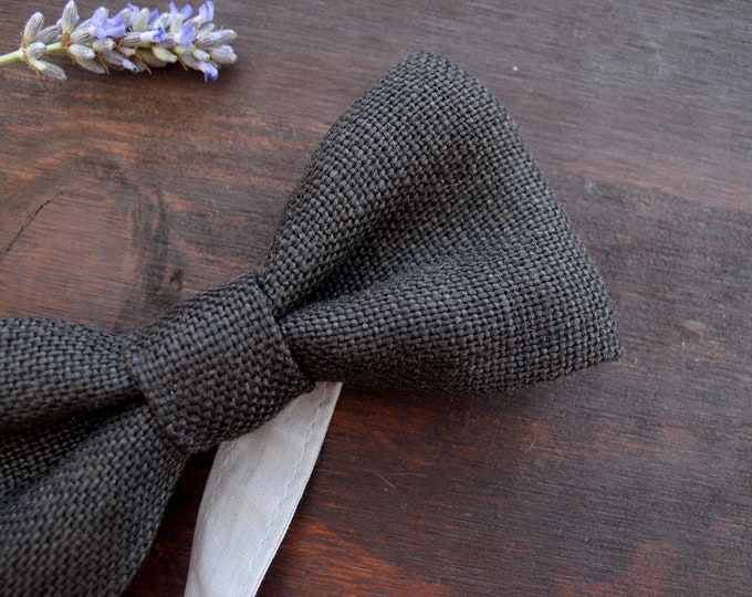 Linen boys bow tie with adjustable length, Little gentlemen 1st birthday outfit, special event kids bow ties