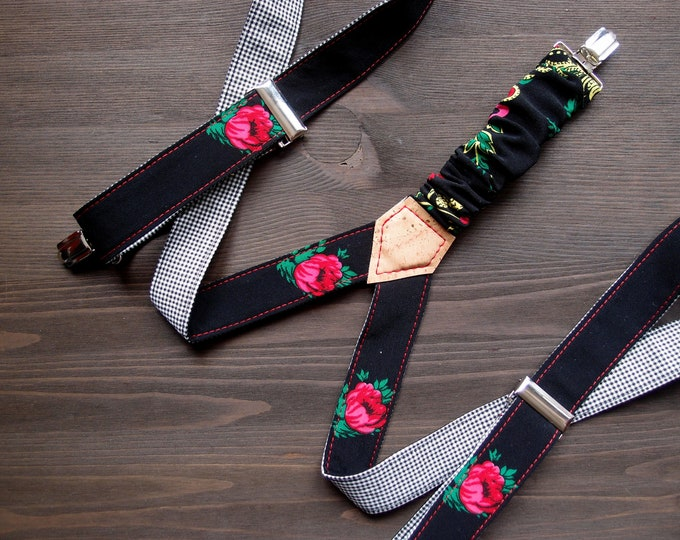 Skirt Womens Suspenders, Black Women Suspenders, Pink Rose Suspenders, Patterned Braces, Gift for her, Girlfriend Gift, Baboshkaa