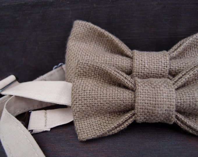 Natural linen wedding bow tie set for father and son, matching mens/boys bow ties with adjustable strap, little and big gentlemen