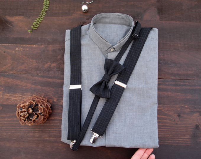 Black mens suspenders set, wedding suspenders set, wedding bow tie and suspenders, husband ideas, boyfriend gift