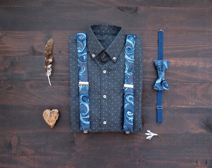 Denim Embroidered Bow tie and Suspenders, pretied bowtie and braces for men and women, limited eddition