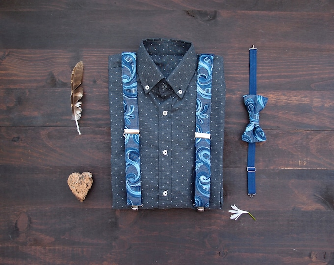 Denim Embroidered Bow tie and Suspenders, pretied bowtie and braces for men or women, limited eddition