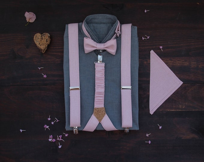 Pale Pink Linen suspenders set with matching pocket square, rustic groomsmen gift, formal bow tie and pocket square with braces combo
