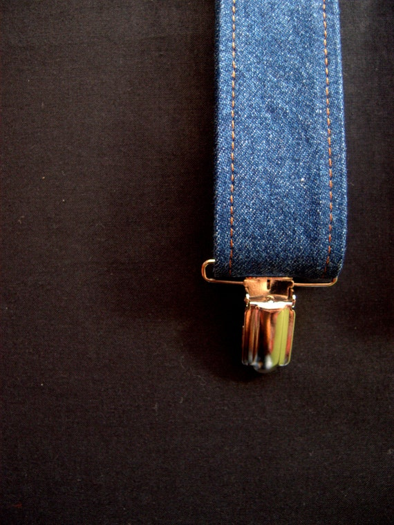 Denim Mens Suspenders Blue Clip On Braces For Men Adjustable