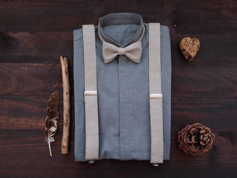 7527e3bce25c Linen suspenders set for groom or groomsmen, light brown wedding braces