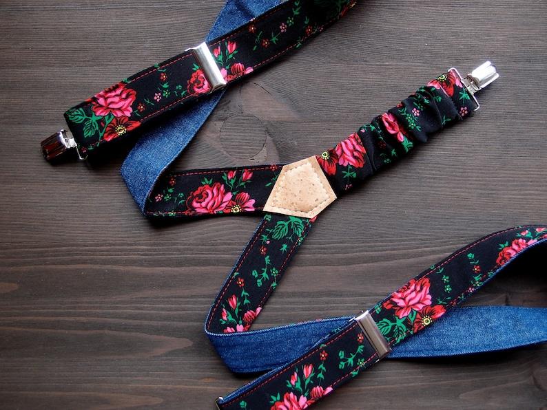 Black Floral Womens Suspenders Reversible Denim Suspenders image 0