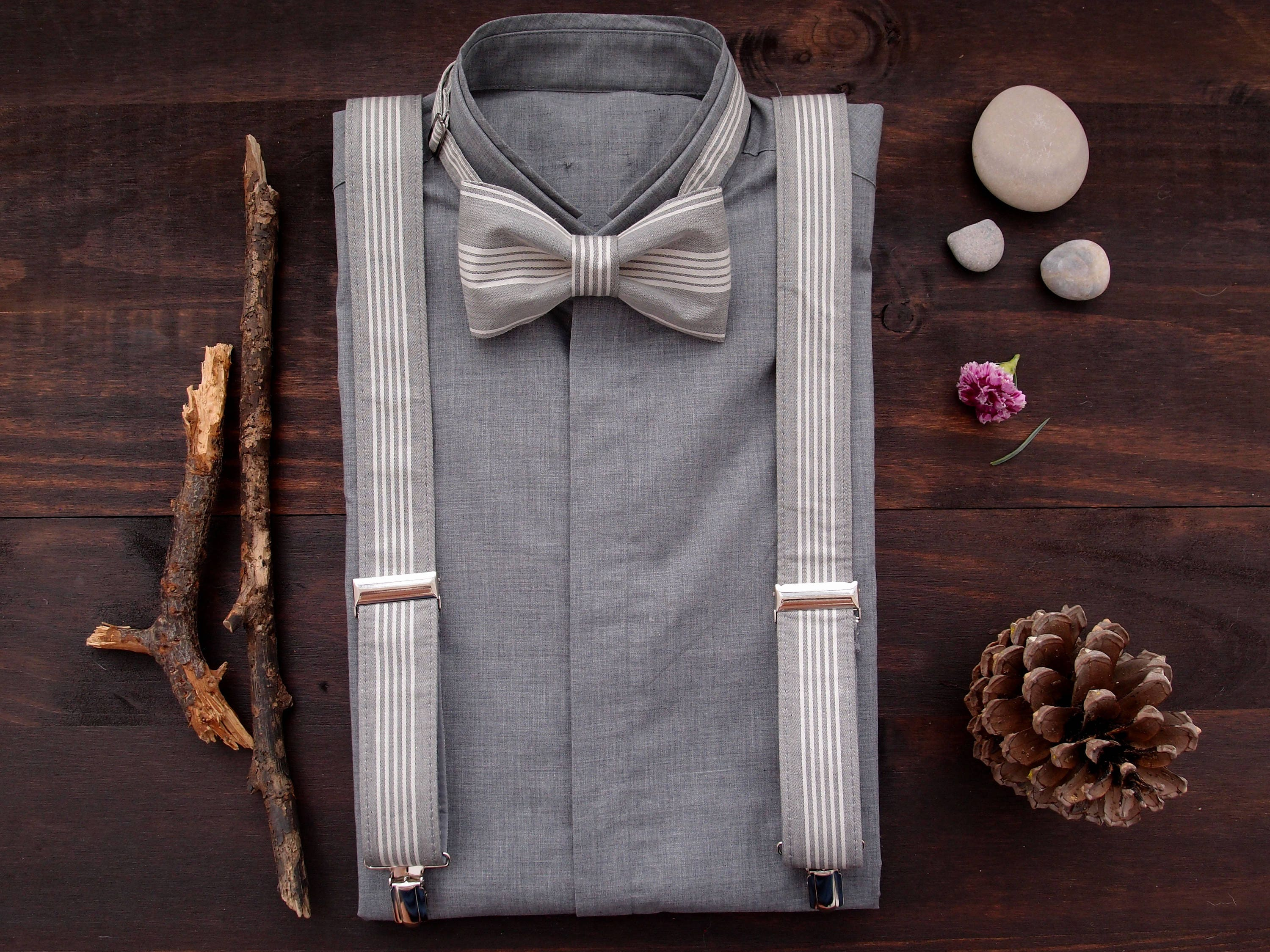 16e03a2b4b57 Grey Suspenders and Bow Tie, Suspenders Set, Braces and Bow Tie, Grooms  Bowtie and Suspenders, Mens Braces set, from wife to husband gift