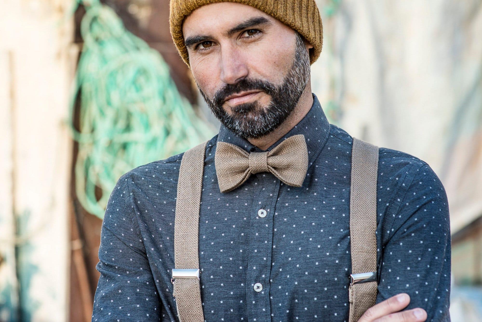 d640fc9a56d4 Groom wedding suspenders and suit bow tie, wedding outfit, suit suspenders  set, groom outfit 2018, adult suspenders set, pure linen braces