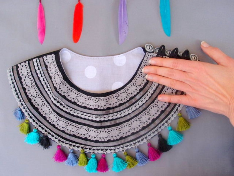 Ethnic Jewelry gift for her gift for mom Tassel necklace Textile necklace Art Ethnic Necklace  with colorful tassels