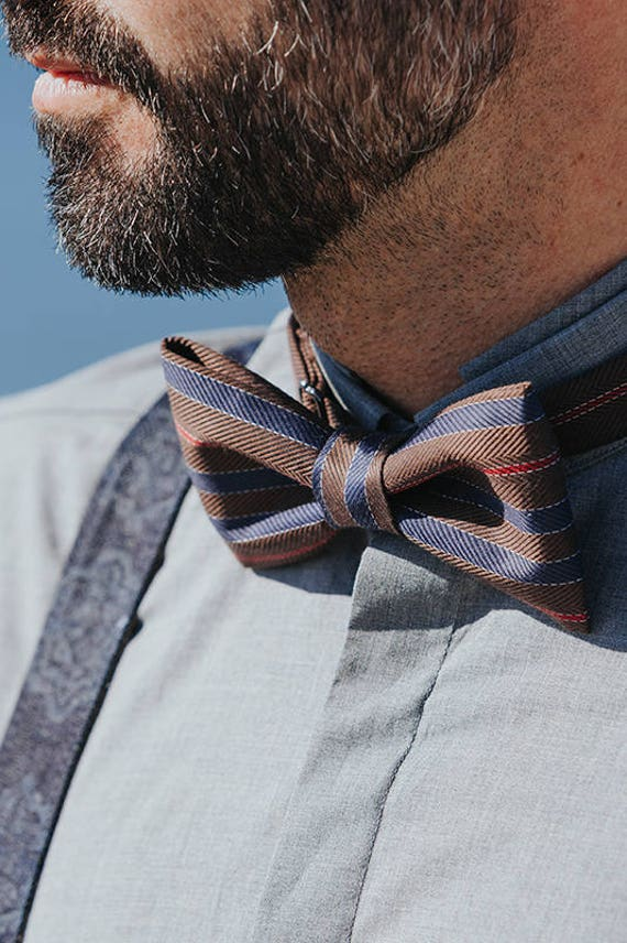 23f708894 Brown Mens Bow tie Striped Bow tie Chocolate Bow tie Coffee | Etsy