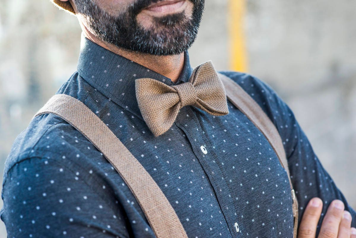 Braces for men with matching bowties, Groom wedding suspenders and ...