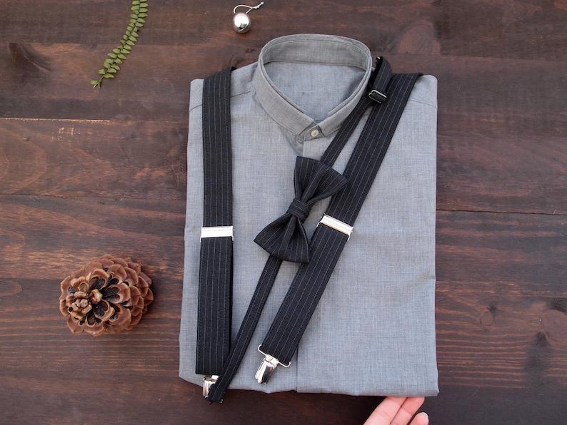 2b5d4f85f8e2 Black mens suspenders set wedding suspenders set wedding bow   Etsy