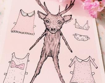 Dress Up Deer Fine Art Print