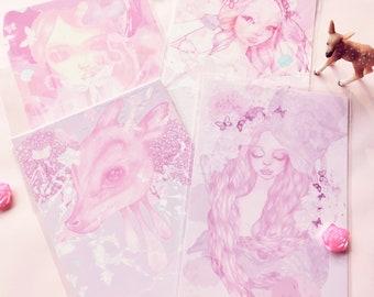 Set of 4 Rose Petal Deer Glossy Dreamland Postcards