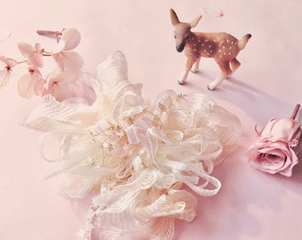 Handmade Rose Petal Deer  Pink & Cream Fairy-pom