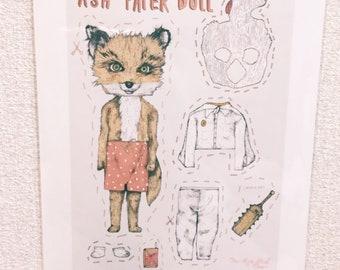 Wes Anderson Fantastic Mr Fox Kawaii Ash Paper Doll Print A4