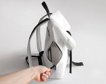 White Backpack, White felt, Long folding backpack, White and black, Pure desing, Minimal design,Light backpack, Polar bear inspired, Big,