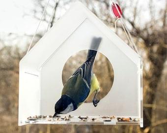 Modern Acrylic Bird Feeder, Bird Feeder, Hanging Bird Feeder, Window Bird Feeder, Modern Bird Feeder, House, Bird watching, Small birds