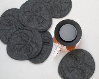 FELT FACE PADS for Teapot Cozy, Handmade, Base heat pads, Minimal, Modern, Design, black, pads, tea time, cozy kitchen, African Art,