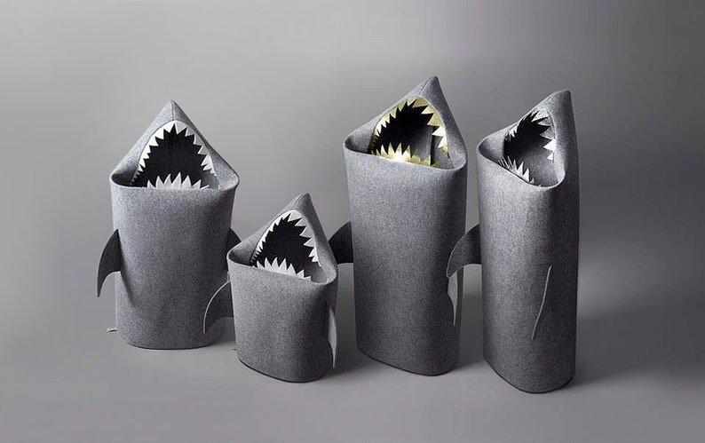 4 SHARKS FAMILY Collection. Felt Shark Laundry Baskets image 0