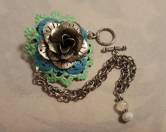 Vintage inspired bracelet assemblage chain silver plated sea green turquoise toggle clasp