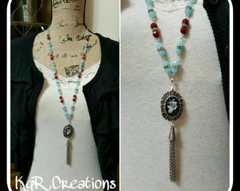 Vintage-inspired, necklace, cameo, silver-plated, hand-beaded, red, ice blue, silver, slate, chain tassel, 30-32in long