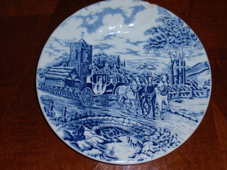 Royal Wessex Bread and Butter Plate Salad Plate Made in England Royal Mail Carriage Scene