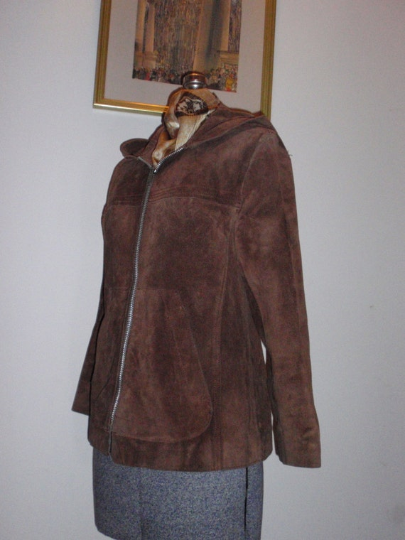 Brown Suede Jacket Hoodie Vintage 1970s - image 4