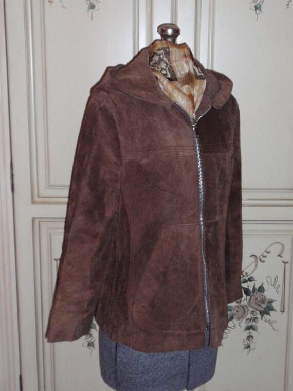 Brown Suede Jacket Hoodie Vintage 1970s - image 2
