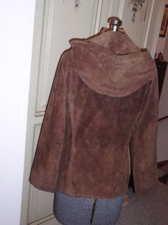 Brown Suede Jacket Hoodie Vintage 1970s - image 3