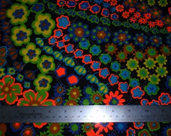 Vintage Quilted Fabric Neon Floral Psychadelic 1970s