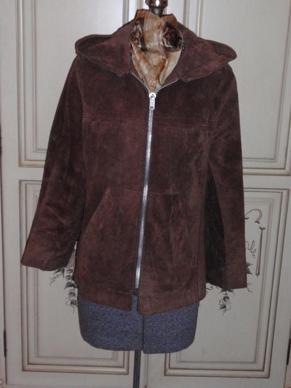 Brown Suede Jacket Hoodie Vintage 1970s - image 5