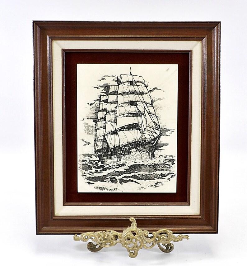 2 Ship on the high seas pendants antique silver tone TT67