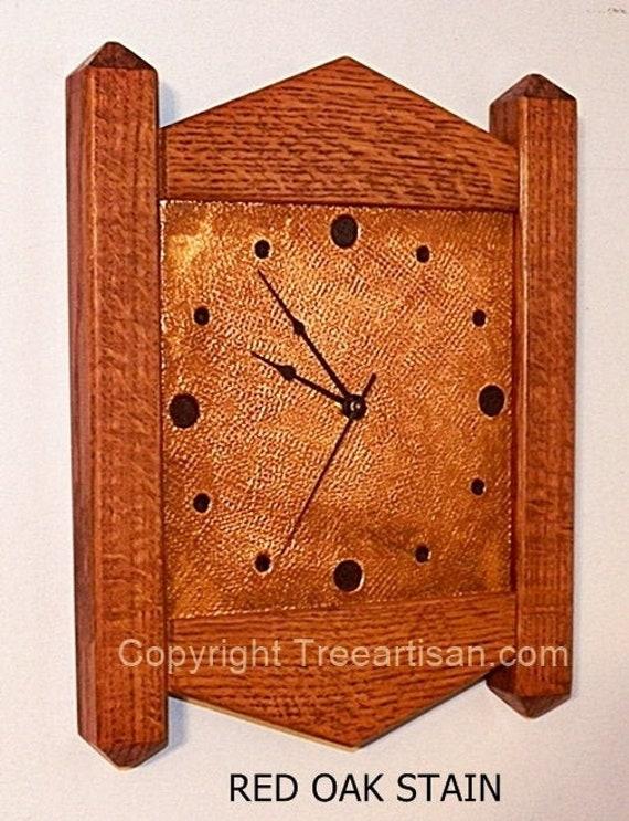 Wall Clock Arts Crafts Mission Stickley Inspired Quarter Sawn Etsy