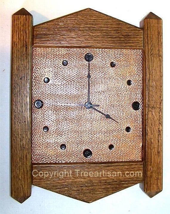 Wall Clock Arts Crafts Mission Stickley Inspired Quarter Sawn | Etsy