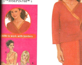 Simplicity 9616 size 14 - 20 uncut KNITS ONLY wrap blouse, pants and skirt