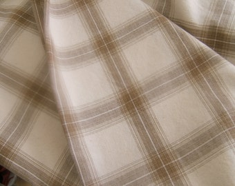 Brown and white cotton plaid