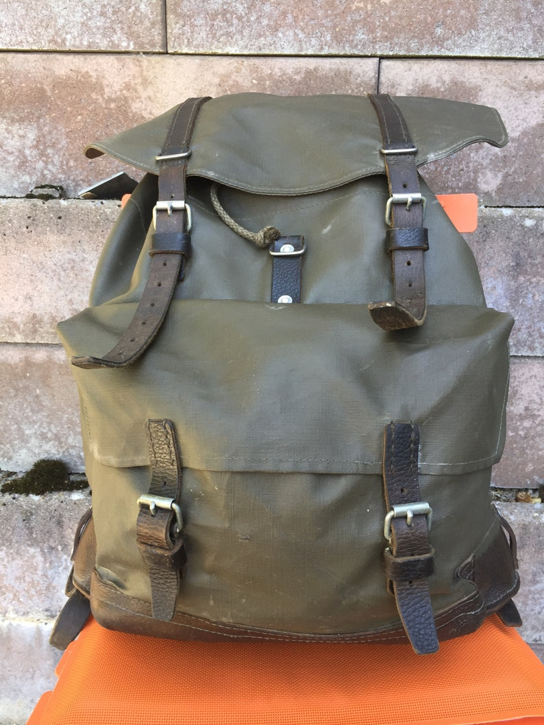 SWISS ARMY Backpack Rucksack Rubberised Engineer's Birthday 1985 with Black  leather straps Switzerland Bag Man Bag,