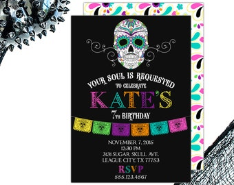 Day of the Dead Birthday Party Invitation | Sugar Skull | Printable OR Professionally Printed | 5x7