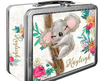 Koala Sparkly Watercolor Classic Tin Lunch Box with or w/out Side Wrap | Back To School | Personalized | Image on Both Sides | Keepsake Box
