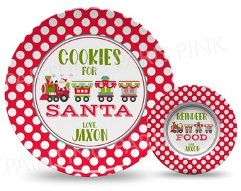 """Cookies for Santa Train Personalized 10"""" Plate, Bowl or 2 Piece Set 