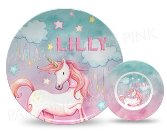 """Unicorn Watercolor Personalized 10"""" Plate, Bowl or 2 Piece Set 