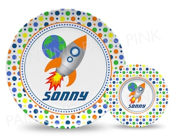 """Rocket Ship Personalized 10"""" Plate, Bowl or 2 Piece Set 