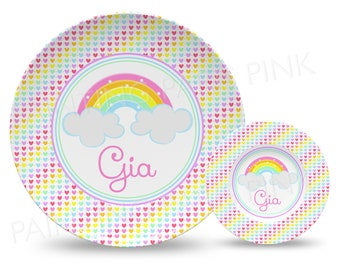 """Rainbow Hearts Personalized 10"""" Plate, Bowl or 2 Piece Set 