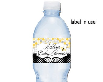 Bumble Bee Baby Shower Water Bottle Labels | Printable or Printed | Customized | Buzz