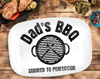 Smoked To Perfection (ANY NAME) Personalized Melamine Platter | Dad | Father | Grilling | BBQ Grill
